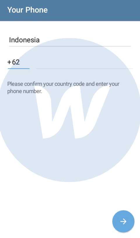 Masukkan Nomor Hp Telegram