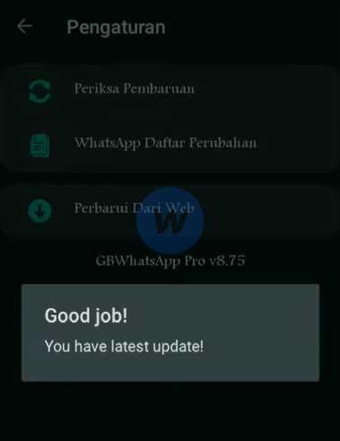 Proses Update Gb Wa Berhasil
